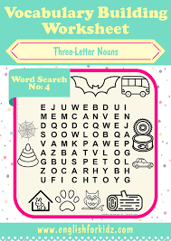 Vocab Building Worksheets Vocabulary Building Worksheets Three Letter Word Search Puzzles