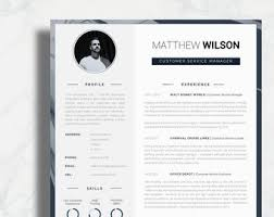 Creative Word Resume Templates Modern Resume Template Single Page Resume Template Cover Etsy
