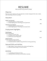 Simple Easy Resume Easy Resume Template Free Basic Resume Template For Senior Hr