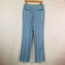 Light Blue Plaid Pants Vintage Di Fini Originals Fairway Light Blue Plaid Womens