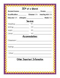 Iep At A Glance Sheet Teaching Special Education Teaching