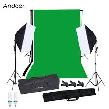andoer photography softbox lighting kit with studio background stand black white green backdrop
