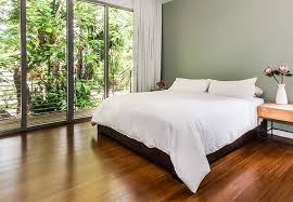 mid tone bamboo flooring in a master bedroom