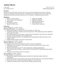 Security Supervisor Resume Format Free Resume Example And