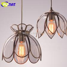 fumat american vintage lotus lampshade pendant light single head copper hanging lamp bedroom dinning room entrance