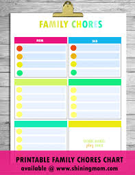 Family Chore Chart List Free Printable Chore Charts That Work
