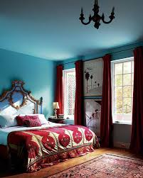 decor red blue room full: dramatic sky blue and red bedroom the home of designer olatz schnabel photographed by
