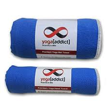 yoga mat towel set blue