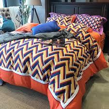 fancy navy blue yellow orange and white aztec zigzag stripe print unique vogue full queen size bedding sets