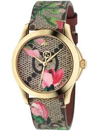 gucci 126 4. gucci ladies gold plated floral blooms leather strap watch ya1264038 | t.h. baker family jewellers 126 4