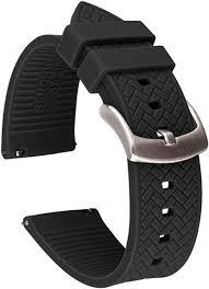 Benchmark Basics Black 22mm <b>Silicone</b> Quick Release <b>Watch Band</b>