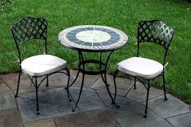 alfresco home round marble mosaic bistro set with two chairs and table wrought iron uk model