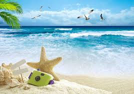 Photography Backdrops 10ftx7ft Navy Blue Sea Ocean Photography Background Beach Seaside Shell Starfish For Family Video Studio Photo Props Photo Booth