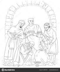 Christian Christmas Nativity Scene Kleurplaat Jezus Maria Joseph
