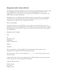 Resignation Letter Format Perfect Sample Writing Letter Of
