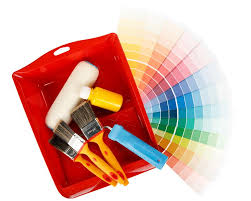 various painting tools and color guide on a white background