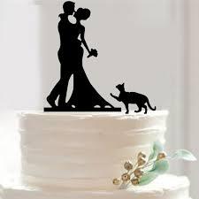 Acrylic Wedding Cake Topper Romantic Couple design with cute cat