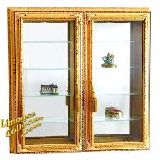 display case cabinet gold double door wall curio vitrine shot glass