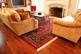 image of living room with red oriental rug
