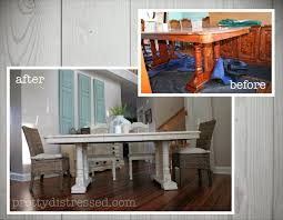 Refinished Kitchen Tables Pretty Distressed Eleanors Table Before After