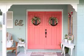 Coral Front Door Cheery Coral Painted Front Doors Diy Lolly Jane