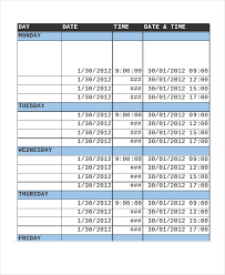 13 Sample Excel Schedule Templates Free Example Format