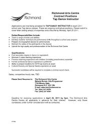 Dance Teacher Resume Format Resume Cover Letter Template