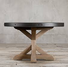 salvaged wood concrete x base collection rh in round dining table plan 15