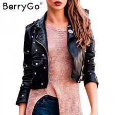 pu leather jacket coat female rivet outerwear coats zipper basic jackets faux leather coat autumn winter