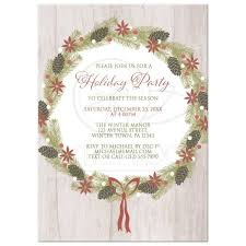 holiday invitations holiday invitations rustic pine cone wreath light wood