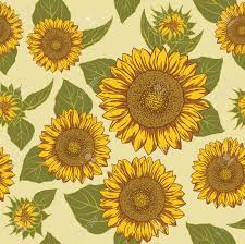 Sunflower Pattern Simple Sunflower Seamless Background Pattern Vector Royalty Free Cliparts