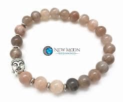 Charms Of Light Moonstone Peach Moonstone Bracelet With Silver Buddha Head Charm New