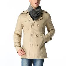 100 cotton business casual double ted trench coat with belt for men