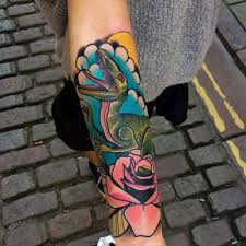 Neotraditional Style Raptor And Pink Rose Tattoo On The