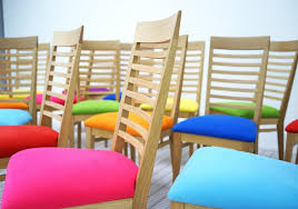 contemporary dining chairs upholstered in bright micro suede fabric with ladder back