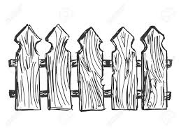fence drawing. Hand Drawn, Cartoon, Sketch Illustration Of Wooden Fence Stock Vector - 27945511 Drawing