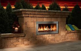 image of outdoor gas fireplace insert