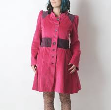 handmade very flared hot pink corduroy coat with waist back and sleeve details in purple babycord long flared sleeves