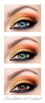 yellow and orange eyeshadow on blue green and brown eyes love this for brown eyes