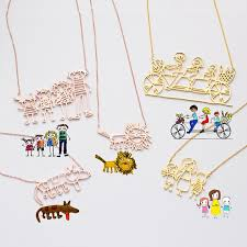 actual kids drawing necklace children artwork necklace kid art gift personalized necklace special gift for mom grandma gift nm19