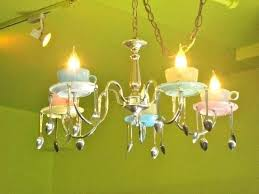 teacup chandelier cafe with spoons