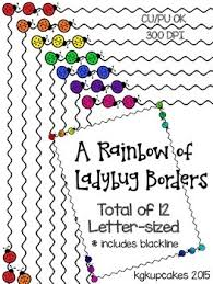 Kindergarten Borders A Rainbow Of Ladybug Borders By Kindergarten Kupcakes Tpt