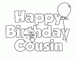 happy birthday cousin coloring page for kids holiday coloring pages printables free