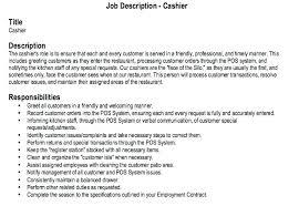 Resume Example Cashier Cashier Job Description Resume Example Of