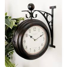 2 sided brown and tan old world edinburgh wall clock 42807 the home depot