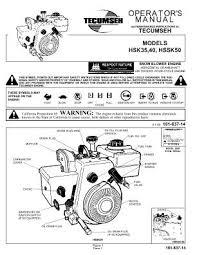 HSSK50 TECUMSEH Snow Blower Engine Manual