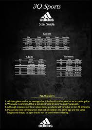 3q Size Guide 3q Sports Teamwear Ltd
