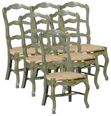 country distressed furniture. Ladder Back Dining Chairs French Country Set 6 New Distressed Green Furniture