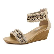 Zapzeal Womens Summer Wedge Platform Sandals With Zipper