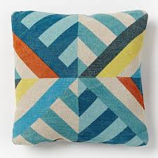 Triangle Stripes Indoor Outdoor Pillow Blue Teal